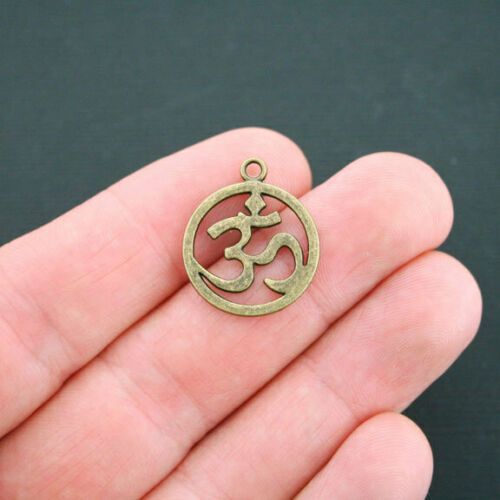 6 Om Charms Antique Bronze Tone Large Size Circle BC399