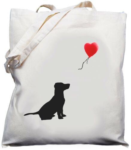 Cotton Shoulder Bag Cream Jack Russell Balloon Design Natural Shopper //Tote