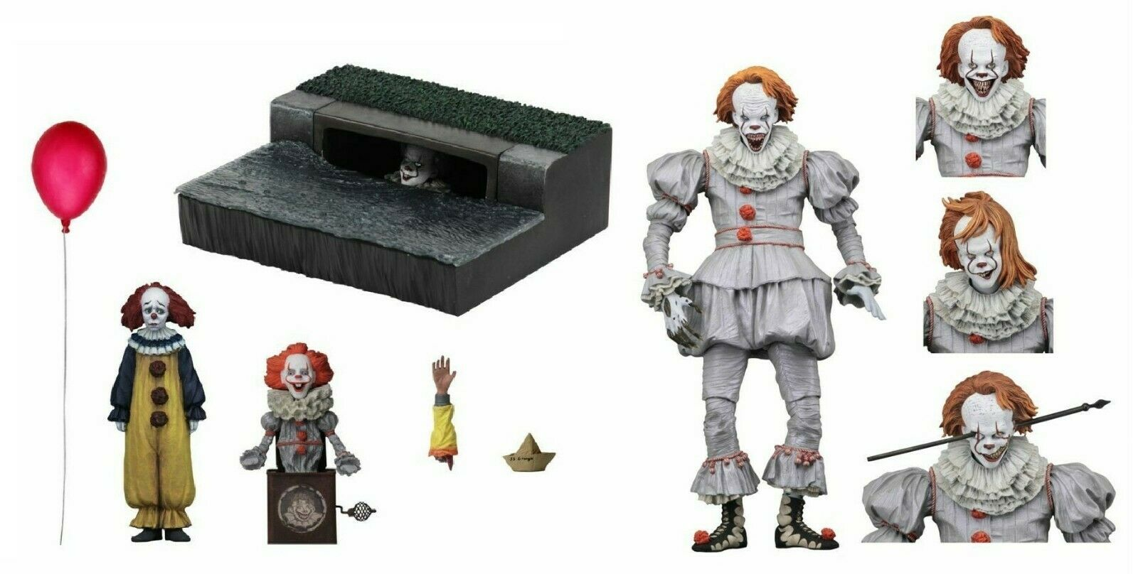 IT 2017 Pennywise Accessory Set & Well House Pennywise Action Figure NECA