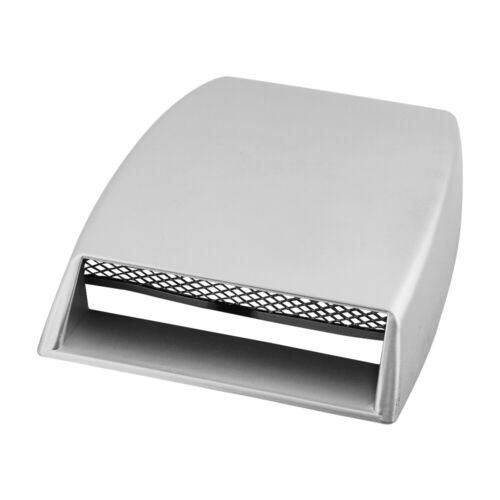 Universal Car Decorative Air Flow Intake Cover Silver Hood Scoop Vent Bonnet