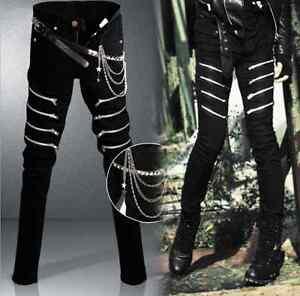 Mens-Punk-Rave-Gothic-Zips-Pants-Trousers-Hip-Hop-Rock-Waist-Chain-Harem-Casual