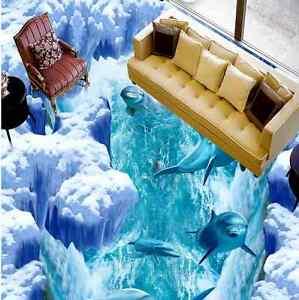 3d Dauphin 2 Fond D'écran étage Peint En Autocollant Murale Plafond Chambre Art