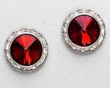 """Dark Red Genuine Austrian Crystal Silver Rhodium Post Earrings 5/8"""""""