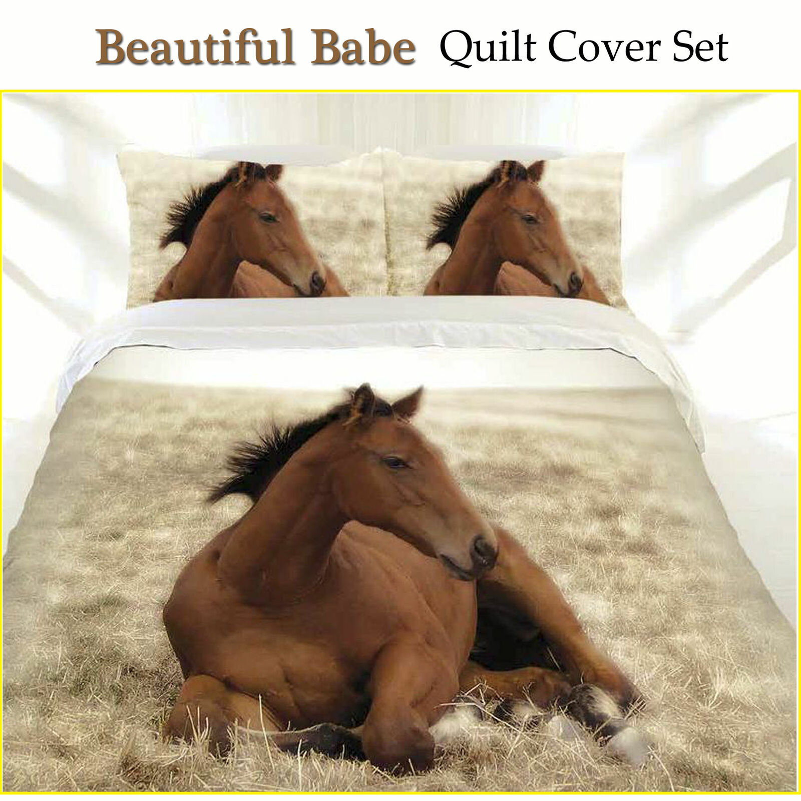 Beautiful Babe Horse Quilt Cover Set by Just Home SINGLE DOUBLE QUEEN KING