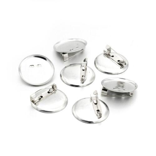 50pcs Platinum Tone Iron Brooch Cabochon Setting Blank Bezel Pin Back 28mm Tray