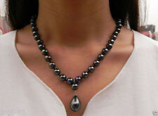 """Natural 8mm Black South Sea Shell Pearl Drop Pendant Necklace 18"""" AAA+"""