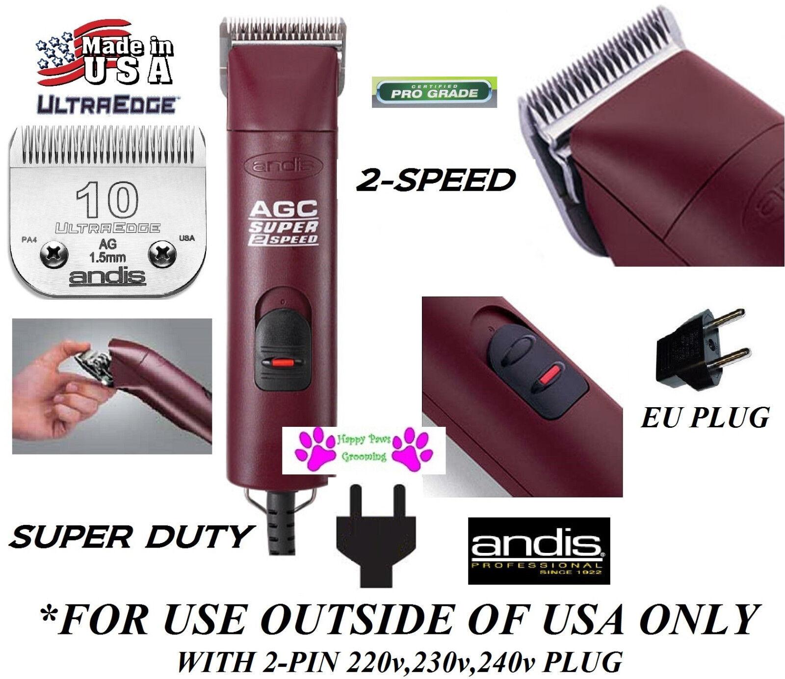 Andis Super Agc 2 Velocità 220v240v Spina Ue CLIPPER&10 Ultraedge Lama
