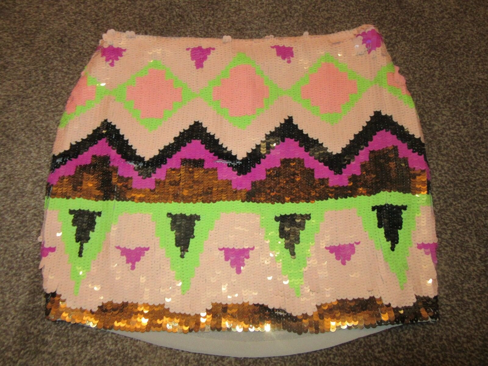 BNWT  Lipsy Mini Skirt Full Sequin Aztec Tribal Multi Coloured Dressy