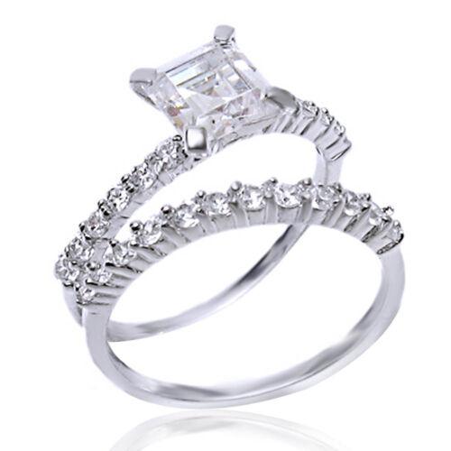 Sterling Silver 1.48 Ct Asscher Cut D//VVS1 Thin Band Engagement Ring Set Sz 5-11