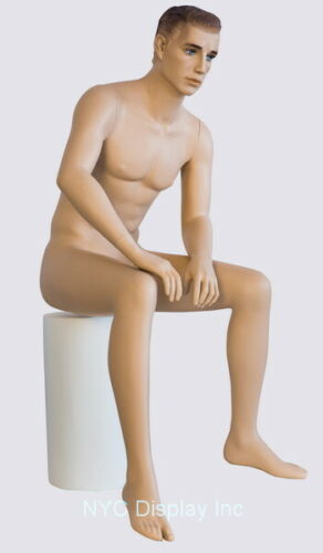 5 ft H Male Seated Mannequin SFM54FT Skintone with Face Makeup M//L size