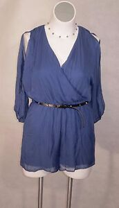 NEW-Navy-Blue-SeXy-Deep-V-Neck-Short-Romper-Jumpsuit-With-Stud-Belt-AUW-XL-10-12