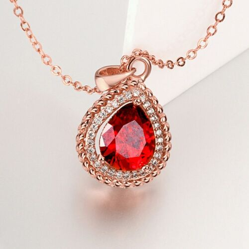 Wholesale 18K Rose Gold Filled Tear Drop Red Zircon Crystal Pendant Necklace