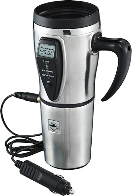 Tech Tools Heated Smart Travel Mug with Temperature Control Stainless Steel