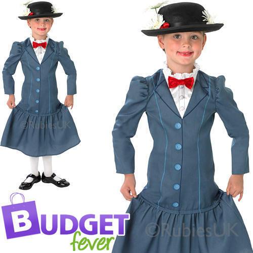 Mary POPPINS RAGAZZE COSTUME DISNEY Victorian Nanny Bambini Costume Nuovo