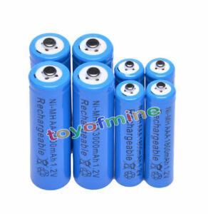 4-4-X-AA-AAA-rechargeable-batterie1800mAh-3000mAh-1-2V-Bleu-pile