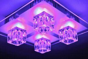 Plafoniere Vetro Blu : Led plafoniera cambia colore telecomando metallo grigio vetro