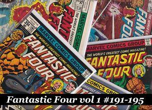Fantastic-Four-Vol-1-191-192-193-194-195-Run-Lot-MARVEL-Comics-1978-FN