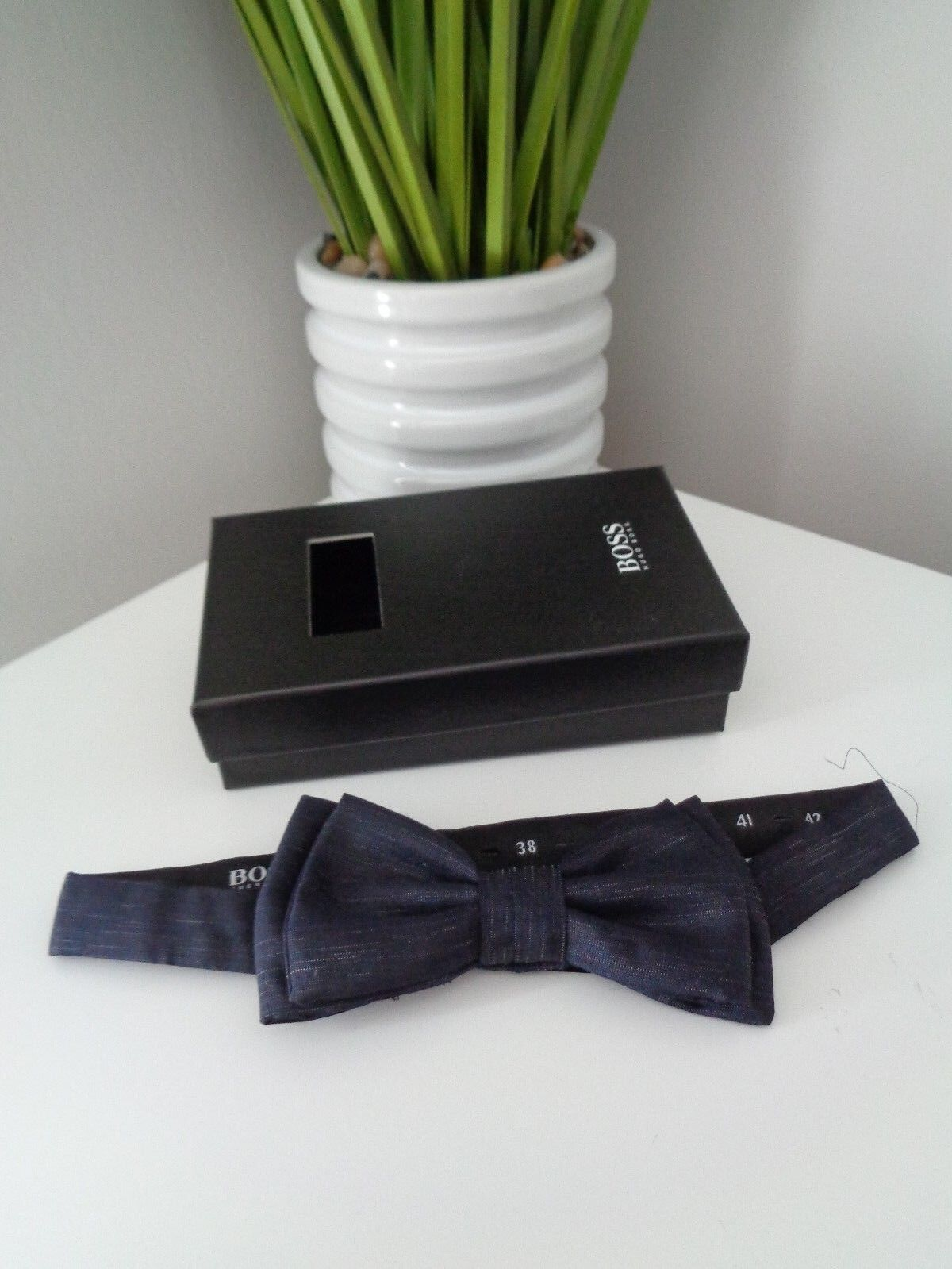 bb8cb79247a4 Hugo Boss Italian Silk & Wool Dark Blue Bow Tie. Gift Idea Prom Save ...