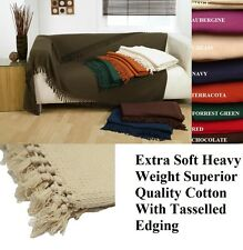 100% Cotton HONEYCOMB WAFFLE SOFA  SETTEE  BED THROW With Tasselled Edging