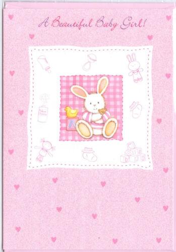 Baby Bunny /& Paillettes. Une belle fille bébé carte