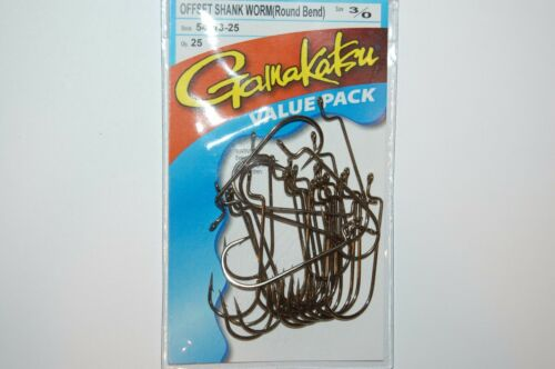 gamakatsu 3//0 offset worm round bend hooks 54113-25 value pack plastic worms