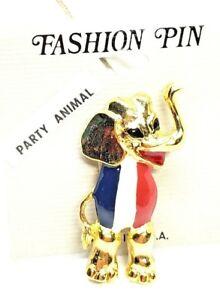 Patriotic-Party-Animal-Republican-Elephant-Pin-Red-White-Blue-Enamel-Vintage