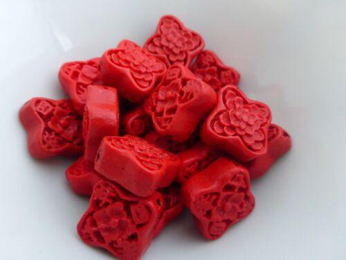 OB509 5 x sculpté faux cinabre laque fleur perles rouge 19mm résine perles