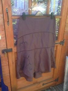 STUNNING-LADIES-LINEN-MIX-SKIRT-BY-FAT-FACE-SIZE-12-BROWN-FULLY-LINED-BOHO