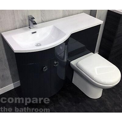 Grey P Shape 1100mm Curved Vanity Set Bathroom Suite Sink Basin + Toilet Unit