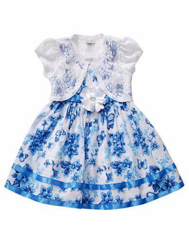 6 Blue Floral Dress w// Lace Cardigan NWT $65 SWEET HEART ROSE® Little Girls/' 4
