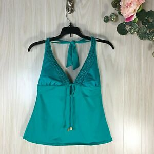 Kenneth Cole Reaction Halter Tankini Swim Top Women's Size M Medium Teal