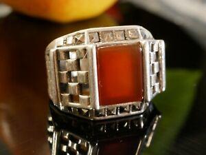 Grosser-925-Silber-Ring-Markasiten-Markasit-Rot-Carneol-Jugendstil-Art-Deco
