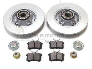 PEUGEOT-308-REAR-2-BRAKE-DISCS-AND-PADS-SET-FITTED-WHEEL-BEARINGS-amp-ABS-RINGS