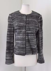 de79516abdce Ann Taylor LOFT Gray Black Striped Knit Sweater Jacket Blazer Size M ...