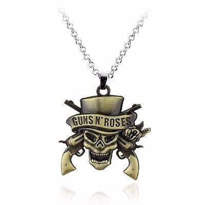 Guns N /'Roses Death Logo Necklace Skeleton Silver Plated Pendant Necklace