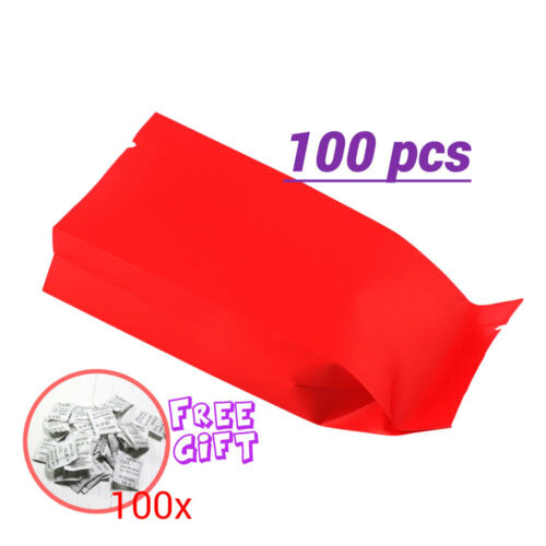 2x4.75in Red Gusseted Mylar Heat-Sealable Open Top Bag Silica Gel Desiccant G01