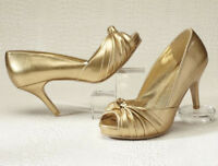 Womens Size 8 W Gold Gathered Knot Classique Pump Shoes 8w