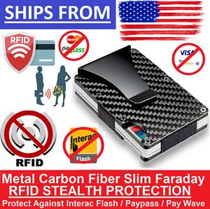 Slim-Carbon-Fiber-Credit-Card-Holder-RFID-Blocking-Metal-Money-Clip-Purse-Wallet