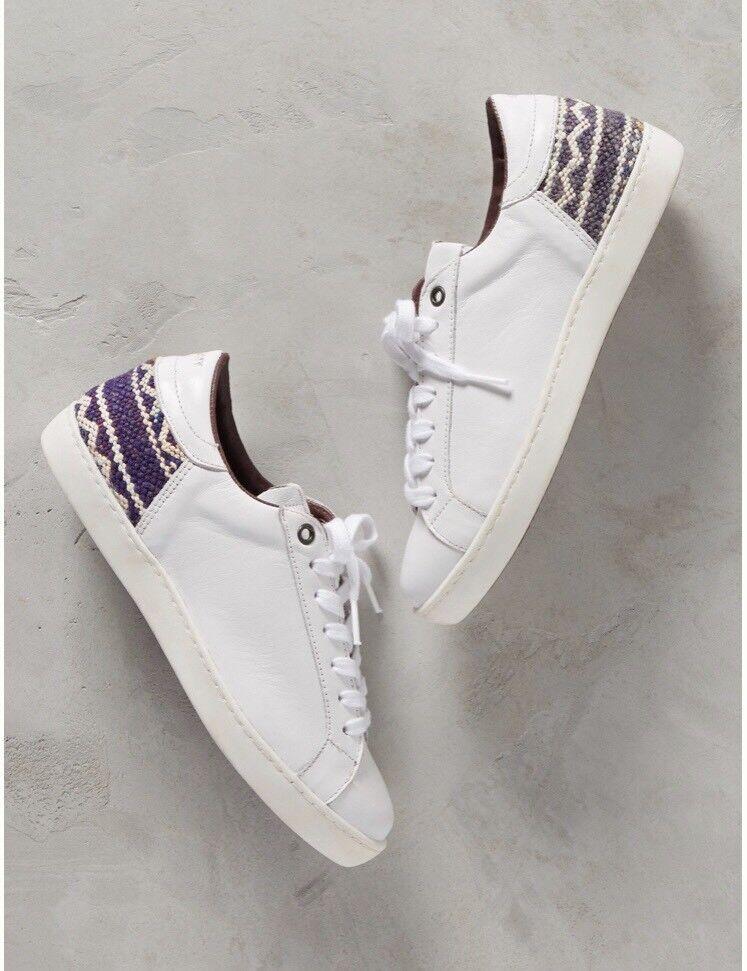New HOWSTY Weiß Leder Fashion Sneaker Zia Kilim Anthropologie Sz 9.5/40 150