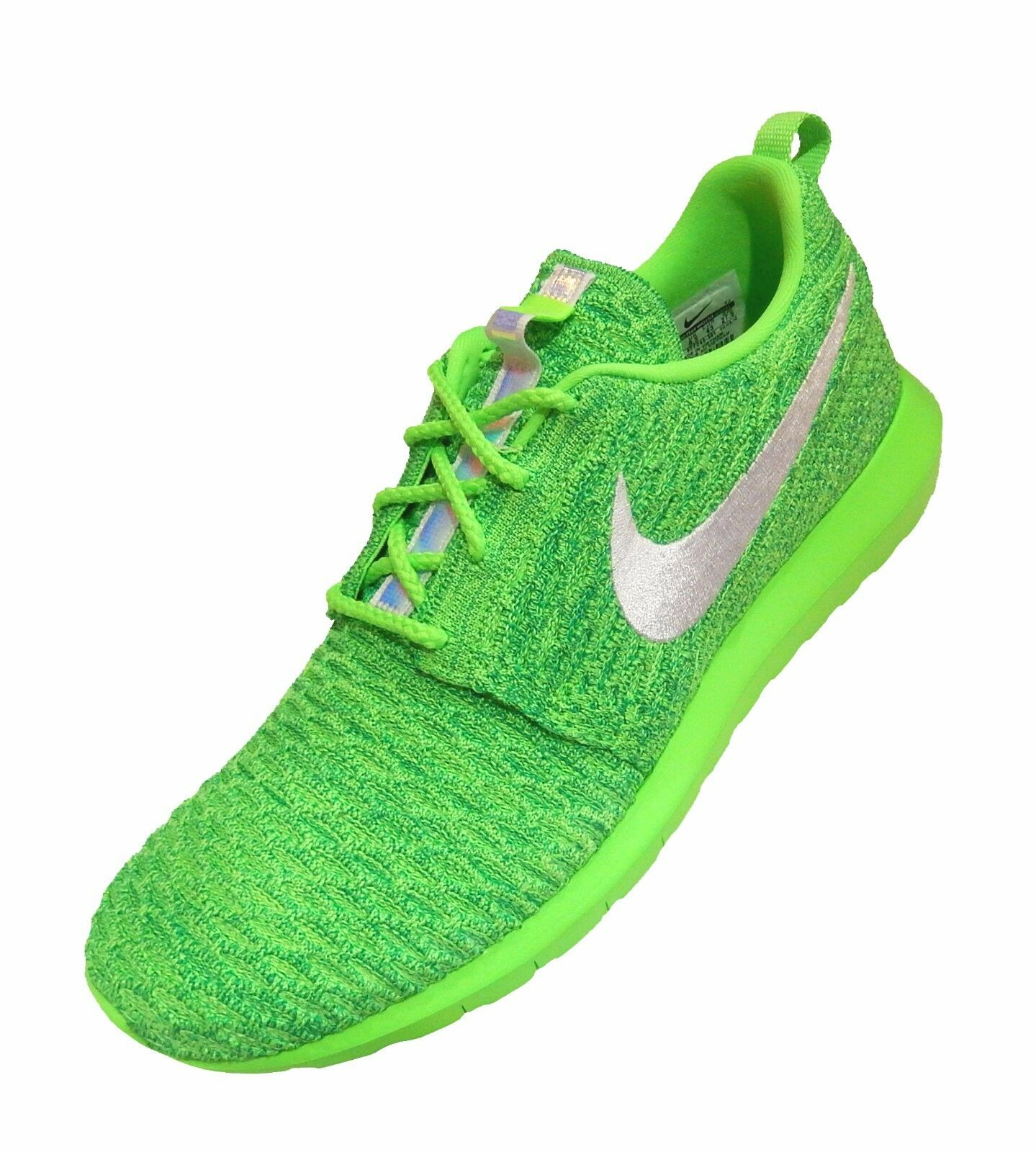 Nike Nike Nike Men's Roshe NM Flyknit Voltage Green Lucid Green White Athletic Sneakers 14 b0ac47