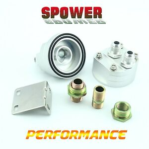 Universal-Silver-AN8-Oil-Filter-Cooler-Sandwich-Plate-Adapter-Relocation-Kit-New