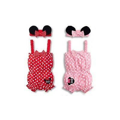 Newborn Baby Girls Kids Minnie Mouse Clothing Romper Jumpsuit+Ear Headband Set