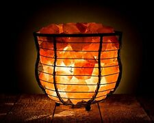 HemingWeigh Natural Air Purifying Himalayan Salt Metal Basket Bowl Lamp 8x7.1...