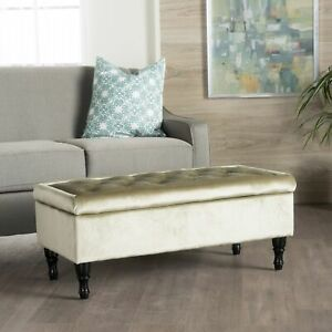Chantelle Tufted Velvet Storage Ottoman Bench By