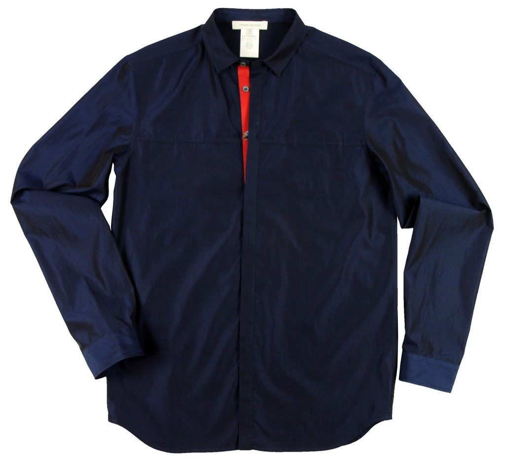 Pierre Balmain red placket shirt black