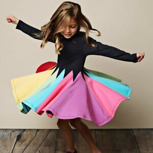 Toddler Kids Girl Tutu Dress Sleeveless Princess Party Rainbow Sparkling Clothes