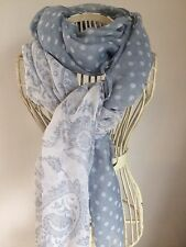 GREY AND WHITE PAISLEY AND SPOTTY SPOT SOFT SUMMER SCARF BN..now Free P&P