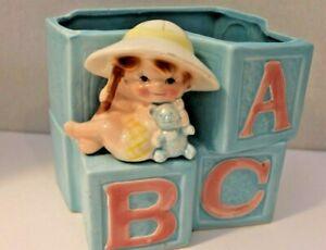 Vintage planter potter Baby Nursery ABC Blocks Ceramic MCM Pot Pottery Blue Pink