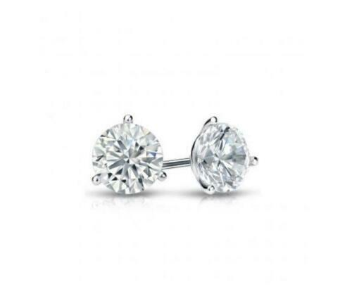 1.00 Carat Martini Real Solitaire Diamond Earrings 14Kt Solid White gold Studs