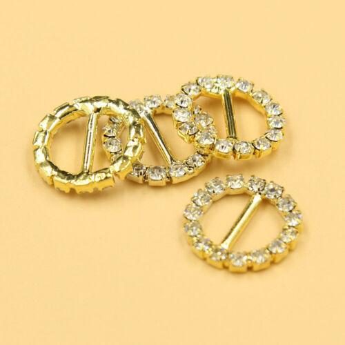50X Rhinestone Gold Tone Round Buckle Wedding Invitation Ribbon Slider Supplies